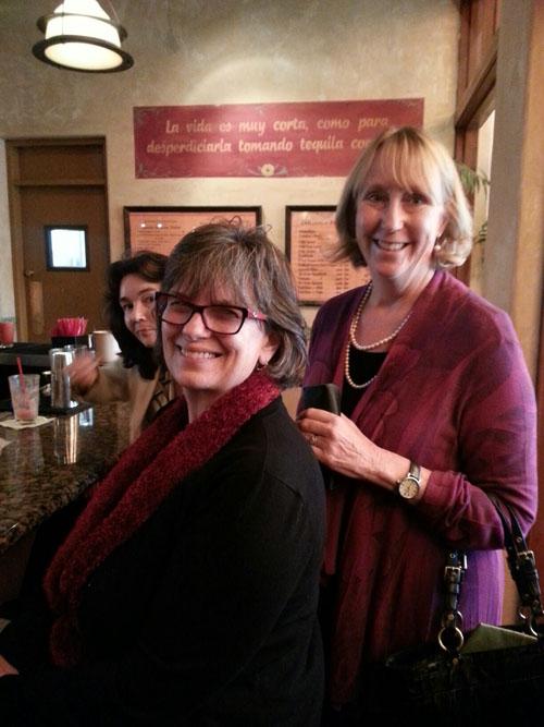 Hazel Breen, WIM VP, Denise Millard, and Linda Riggall at the WIM El Cholo Mixer on March 27, 2014