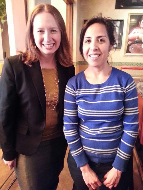 Elaine Padilla and Carolina Lopez at the WIM El Cholo Mixer on March 27, 2014