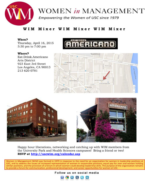 USC WIM Spring 2015 Mixer
